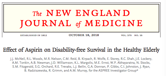 Efecto de la aspirina en la supervivencia de ancianos sanos sin discapacidad – Octubre2018