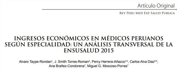 Ingresos económicos en médicos peruanos según especialidad –2015