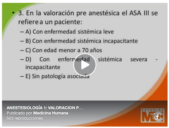 Videos de Anestesiología (ENAM – ESSALUD – ResidentadoMédico)