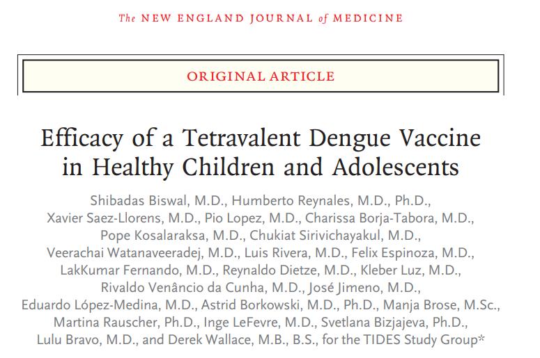 Eficacia de una vacuna contra el dengue tetravalente en niños y adolescentessanos