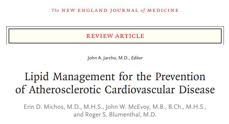 2019 – NEJM – Manejo de lípidos para la prevención de la enfermedad cardiovascularaterosclerótica