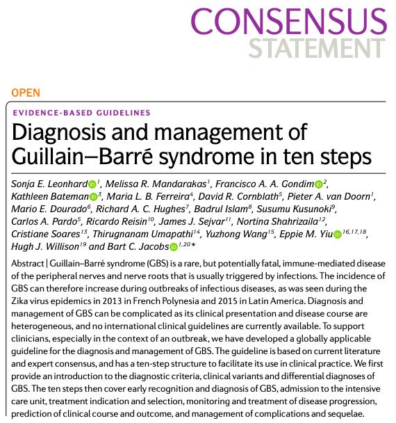 Diagnóstico y manejo del síndrome de Guillain-Barré en diezpasos.