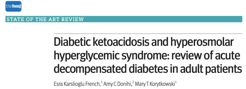 Cetoacidosis diabética y síndrome hiperglucémico hiperosmolar: revisión de diabetes descompensada aguda en pacientesadultos