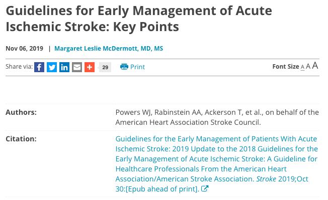 Pautas para el manejo temprano del accidente cerebrovascular isquémico agudo: puntosclave