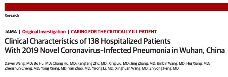 Características clínicas de 138 pacientes hospitalizados con nueva neumonía infectada con coronavirus 2019 en Wuhan,China