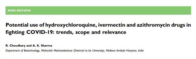 Uso potencial de hidroxicloroquina, ivermectina y azitromicina en la lucha contra COVID-19: tendencias, alcance yrelevancia