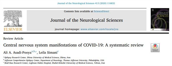 Manifestaciones del sistema nervioso central de COVID-19: una revisiónsistemática