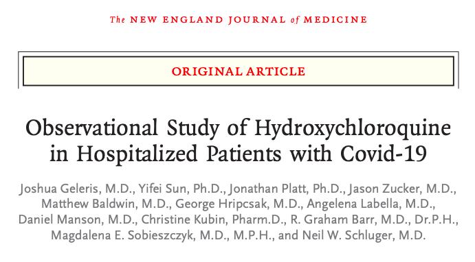 Estudio observacional de hidroxicloroquina en pacientes hospitalizados conCovid-19