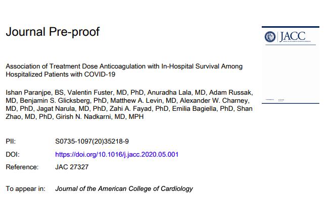 Asociación de anticoagulación de dosis de tratamiento con supervivencia hospitalaria entre pacientes hospitalizados conCOVID-19