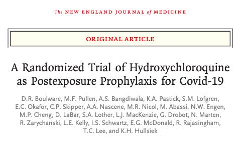 Un ensayo aleatorizado de hidroxicloroquina como profilaxis posexposición paraCovid-19