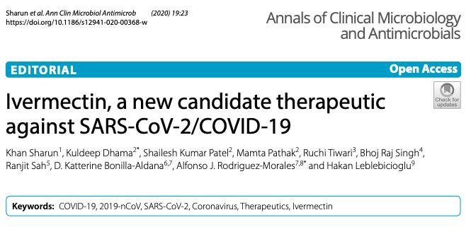 Ivermectina, un nuevo candidato terapéutico contra el SARS-CoV-2 /COVID-19