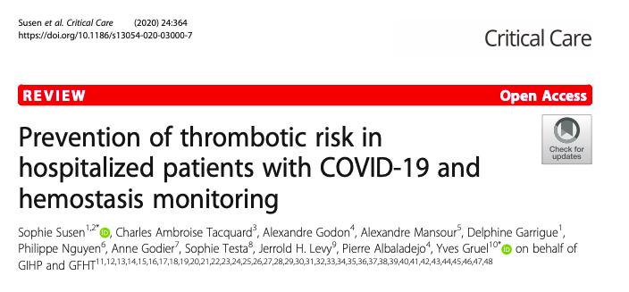 Prevención del riesgo trombótico en pacientes hospitalizados con COVID-19 y monitorización de lahemostasia