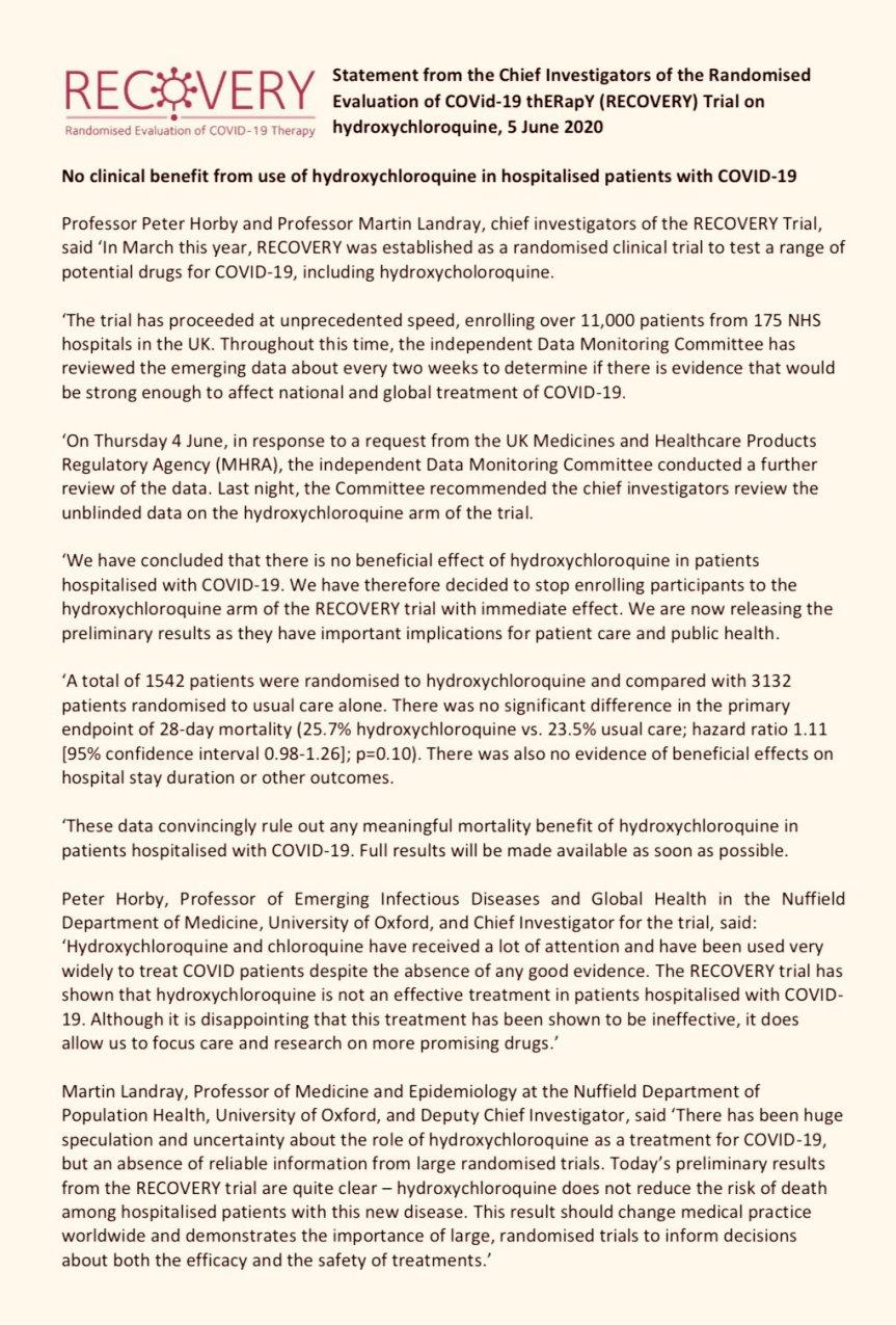 Declaración de los investigadores principales de la evaluación aleatorizada del ensayo COVid-19 thERapY (RECOVERY) sobre hidroxicloroquina,
