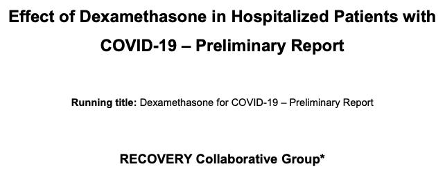 Efecto de la dexametasona en pacientes hospitalizados con COVID-19: informepreliminar