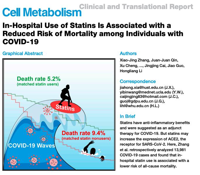 El uso de estatinas en el hospital está asociado con un riesgo reducido de mortalidad entre las personas conCOVID-19