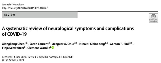 Una revisión sistemática de síntomas neurológicos y complicaciones deCOVID-19