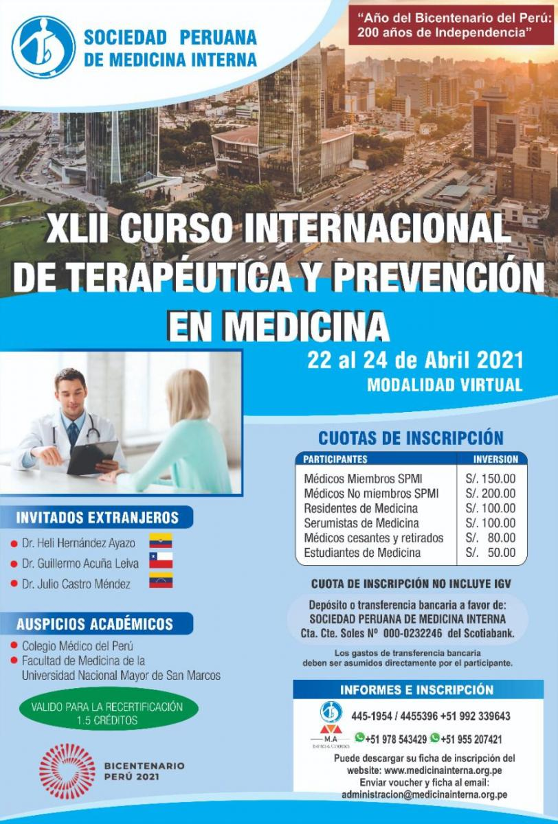 XLII Curso internacional de terapéutica y prevención enmedicina