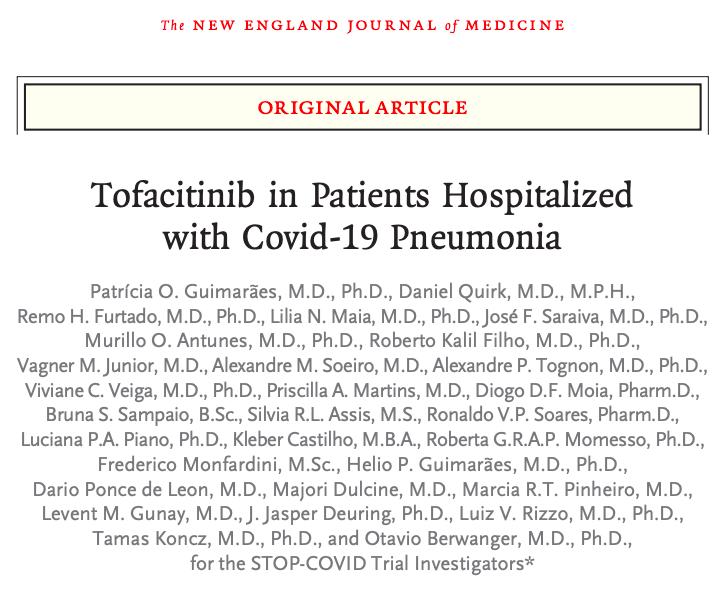 Tofacitinib en pacientes hospitalizados con neumoníaCovid-19