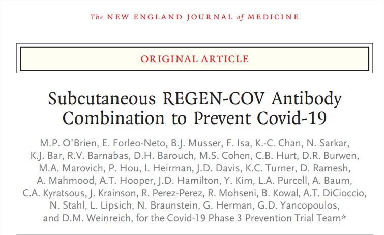 Combinación subcutánea de anticuerpos REGEN-COV para prevenirCovid-19